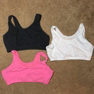 3 pre teen sports bras